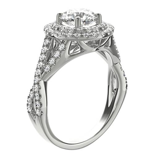 Monique Lhuillier Double Halo Diamond Twist Engagement Ring