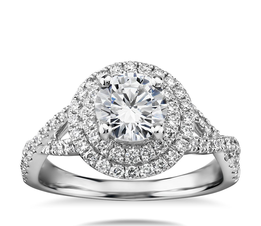 Monique Lhuillier Double Halo Diamond Twist Engagement Ring