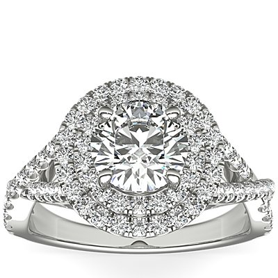 Monique Lhuillier Double Halo Diamond Twist Engagement Ring in Platinum (3/8 ct. tw.)