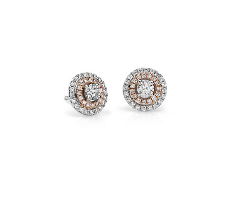Boucles d'oreilles double halo Monique Lhuillier en or rose et or blanc 18 carats