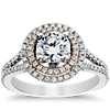Monique Lhuillier Double Halo Diamond Engagement Ring in Platinum