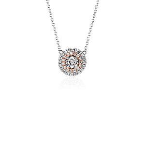 Colgante con doble halo de Monique Lhuillier en oro blanco y rosado de 18k (1/4 qt. total)