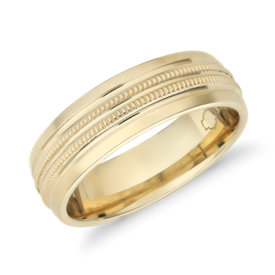 NEW Monique Lhuillier Double Milgrain Inlay Band with Polished Edge in 18k Yellow Gold (6.5mm)