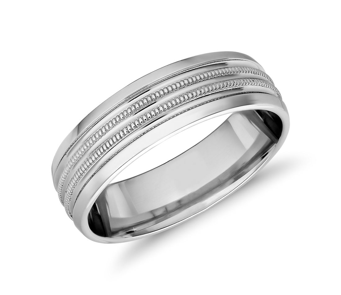 Monique Lhuillier Double Milgrain Inlay Band with Polished Edge in Platinum (6.5mm)