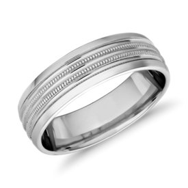 NEW Monique Lhuillier Double Milgrain Inlay Band with Polished Edge in Platinum (6.5mm)