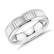 Monique Lhuillier Double Milgrain Textured Wedding Band in 18k White Gold (6mm)