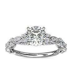 Bague de fiançailles diamant avec drapé éternel Monique Lhuillier en platine (1/3carat, poids total)