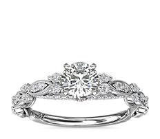 铂金 Monique Lhuillier 垂坠细节永恒钻石订婚戒指<br>(1/3 克拉总重量)