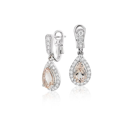 Monique Lhuillier Beloved Drop Earrings with Pear-Shaped Morganite in 18k White Gold