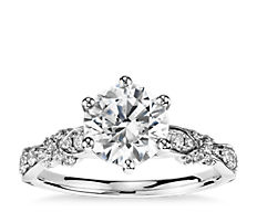 Monique Lhuillier Embellished Six-Prong Diamond Engagement Ring in Platinum (1/3 ct. tw.)