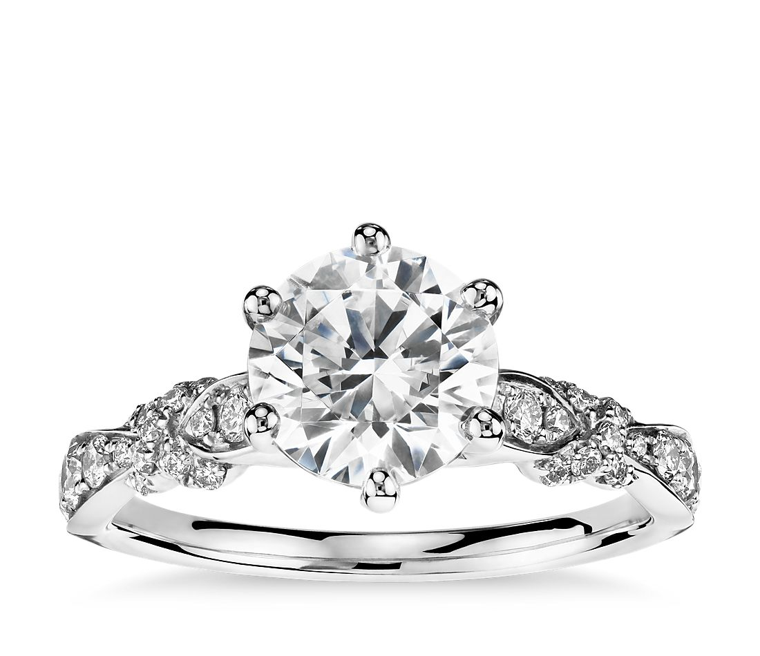 2f6ca34806b Monique Lhuillier Embellished Six-Prong Diamond Engagement Ring in Platinum  (1/3 ct. tw.) | Blue Nile