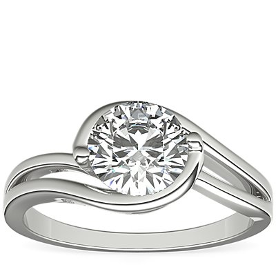 铂金 Monique Lhuillier Eternal Solitaire Engagement Ring单石订婚戒指对戒