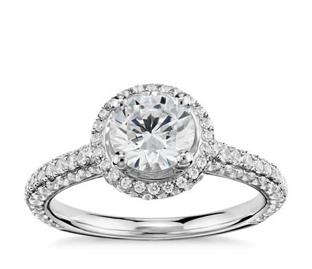 Monique Lhuillier Everlasting Halo Diamond Engagement Ring in Platinum (3/4 ct. tw.)