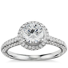 Monique Lhuillier Everlasting Halo Diamond Engagement Ring in Platinum (3/4 ct. tw.)
