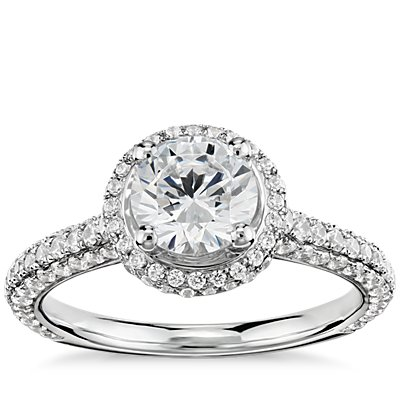 Monique Lhuillier Everlasting Halo Diamond Engagement Ring in Platinum