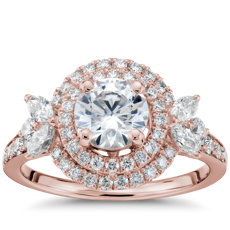 Monique Lhuillier Feuille Double Halo Diamond Engagement Ring in 18k Rose Gold (3/4 ct. tw.)
