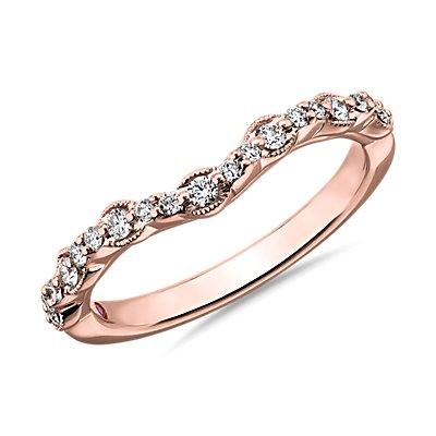 NEW Monique Lhuillier Fleur Milgrain Edge Curved Diamond Wedding Ring in 18k Rose Gold (1/5 ct. tw.)