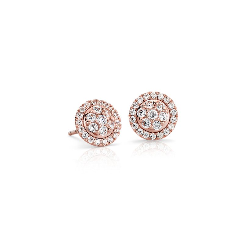 Monique Lhuillier Floral Diamond Earrings in 18k Rose Gold (1/2 c