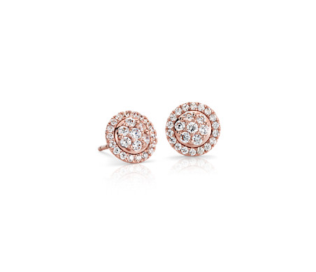 Boucles d'oreilles diamant florales Monique Lhuillier en or rose 18 carats