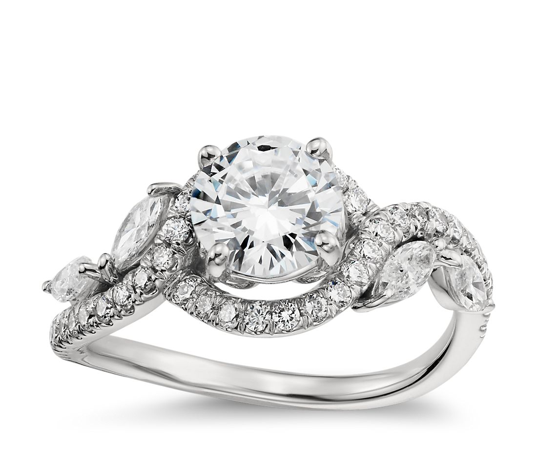 Monique Lhuillier Floral Diamond Engagement Ring In