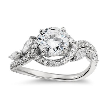 Monique Lhuillier Floral Diamond Engagement Ring in Platinum