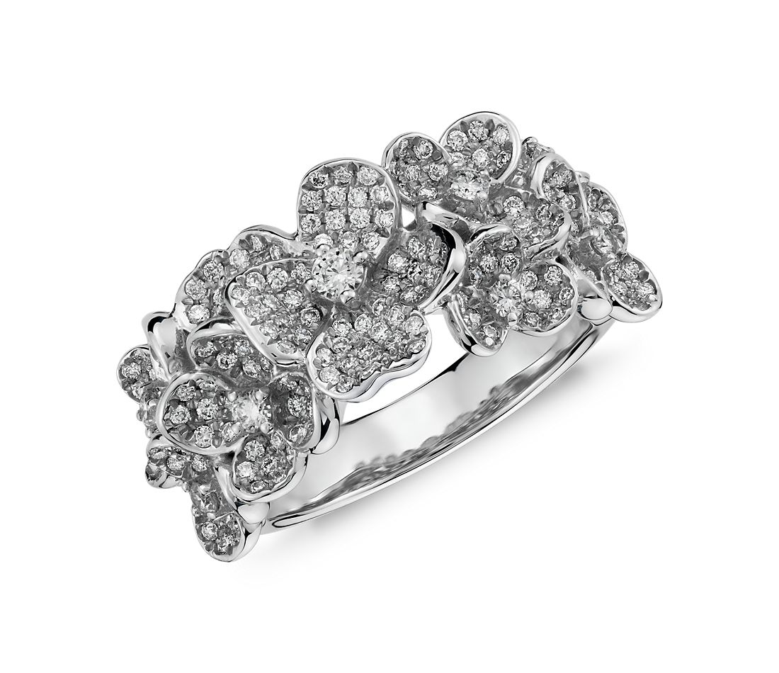 Monique Lhuillier Floral Diamond Ring In 18k White Gold Blue Nile