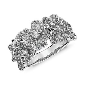 Bague diamant floral Monique Lhuillier en or blanc 18carats
