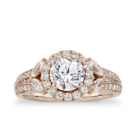 Monique Lhuillier Floral Halo Diamond Engagement Ring