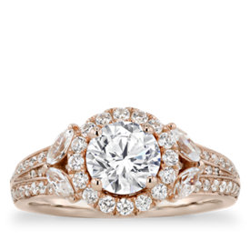 Monique Lhuillier Floral Halo Diamond Engagement Ring in 18k Rose Gold (9/10 ct. tw.)