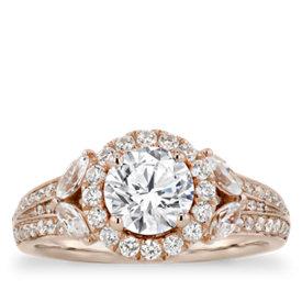 Anillos de compromiso con halo en forma de flor con diamantes de Monique Lhuillier en oro rosado de 18k (9/10 qt. total)