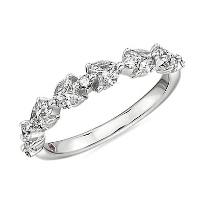 NEW Monique Lhuillier Floral Marquise Diamond Anniversary Band in Platinum