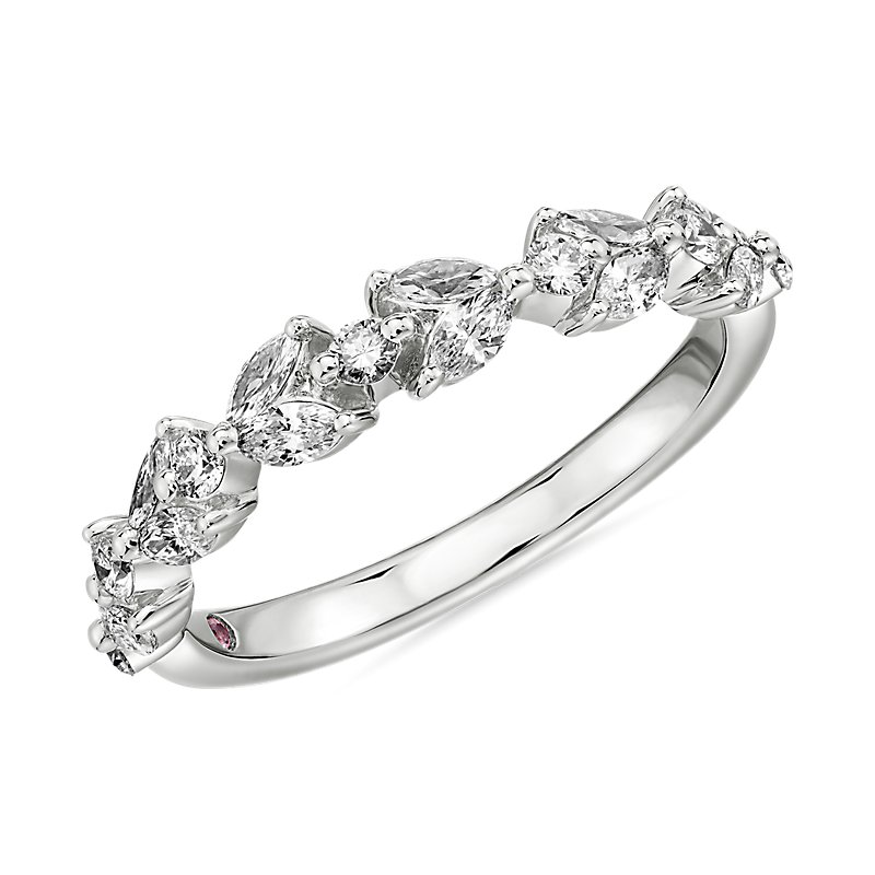 Monique Lhuillier Floral Marquise Diamond Anniversary Band in Pla