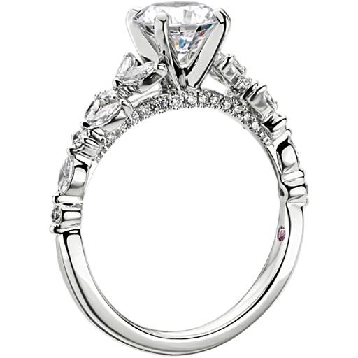Monique Lhuillier Floral Marquise Diamond Engagement Ring