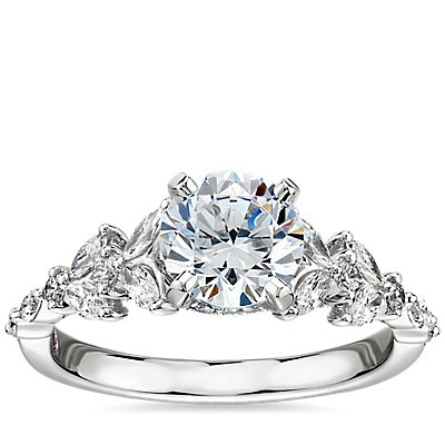 NEW Monique Lhuillier Floral Marquise Diamond Engagement Ring in Platinum
