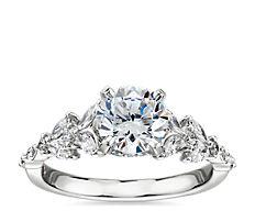 Monique Lhuillier Floral Marquise Diamond Engagement Ring in Platinum