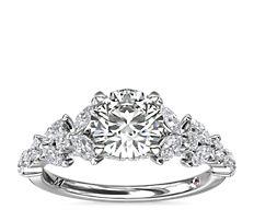 Bague de fiançailles florale avec diamants taille marquise Monique Lhuillier en platine (5/8carat, poids total)
