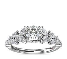 铂金 Monique Lhuillier 榄尖形花卉钻石订婚戒指<br>(5/8 克拉总重量)