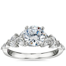 Monique Lhuillier Floral Marquise Diamond Engagement Ring in Platinum
