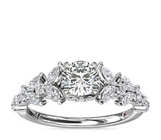 Monique Lhuillier Floral Marquise Diamond Engagement Ring in Platinum (5/8 ct. tw.)