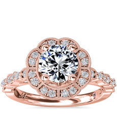 NEW Monique Lhuillier Fleur Milgrain Halo Diamond Engagement Ring in 18k Rose Gold (1/4 ct.tw.)