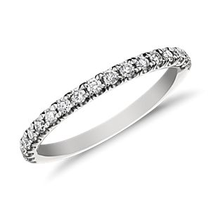 Monique Lhuillier French Pavé Wedding Band in Platinum