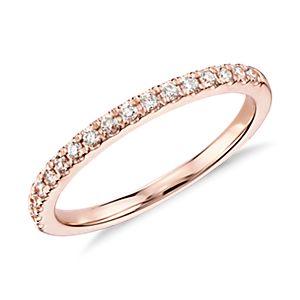 18k 玫瑰金 Monique Lhuillier 法式密釘鑽石戒指( 1/5 克拉總重量)