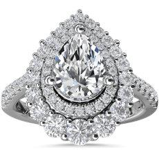 NEW Monique Lhuillier Arabella Graduated Pear Halo Diamond Engagement Ring in Platinum (3/4 ct. tw.)