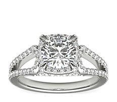 Monique Lhuillier Halo Diamond Engagement Ring in Platinum (1/2 ct. tw.)