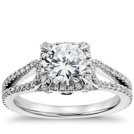 White Wedding Espa L: Monique Lhuillier Halo Diamond Engagement Ring In Platinum