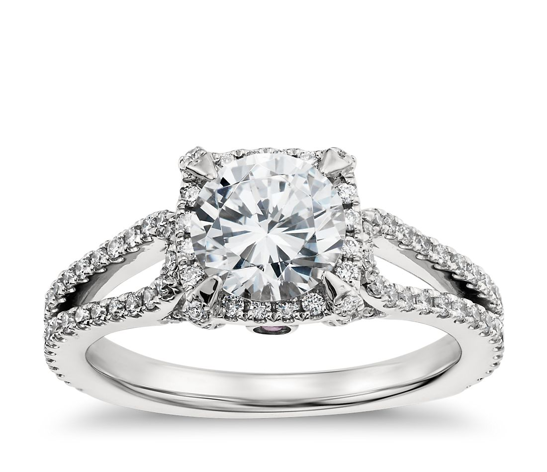monique lhuillier halo diamond engagement ring in platinum - Wedding Ring Diamond