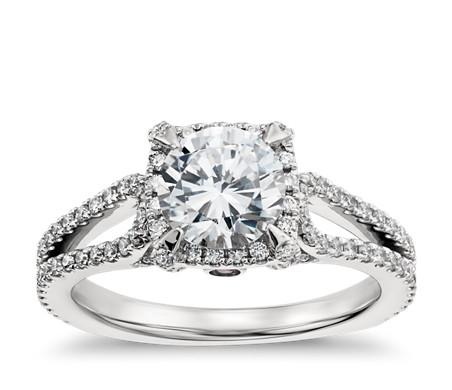 Monique Lhuillier Halo Diamond Engagement Ring in Platinum (1/2 ct. tw.)
