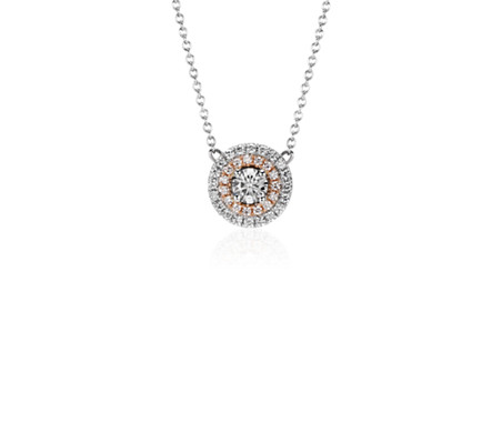 Monique Lhuillier Double Halo Pendant in 18k White and Rose Gold