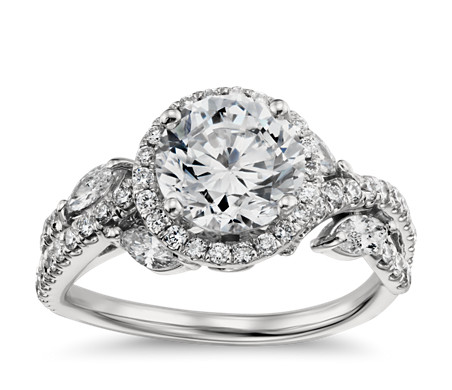 Monique Lhuillier Floral Halo Diamond Engagement Ring in Platinum