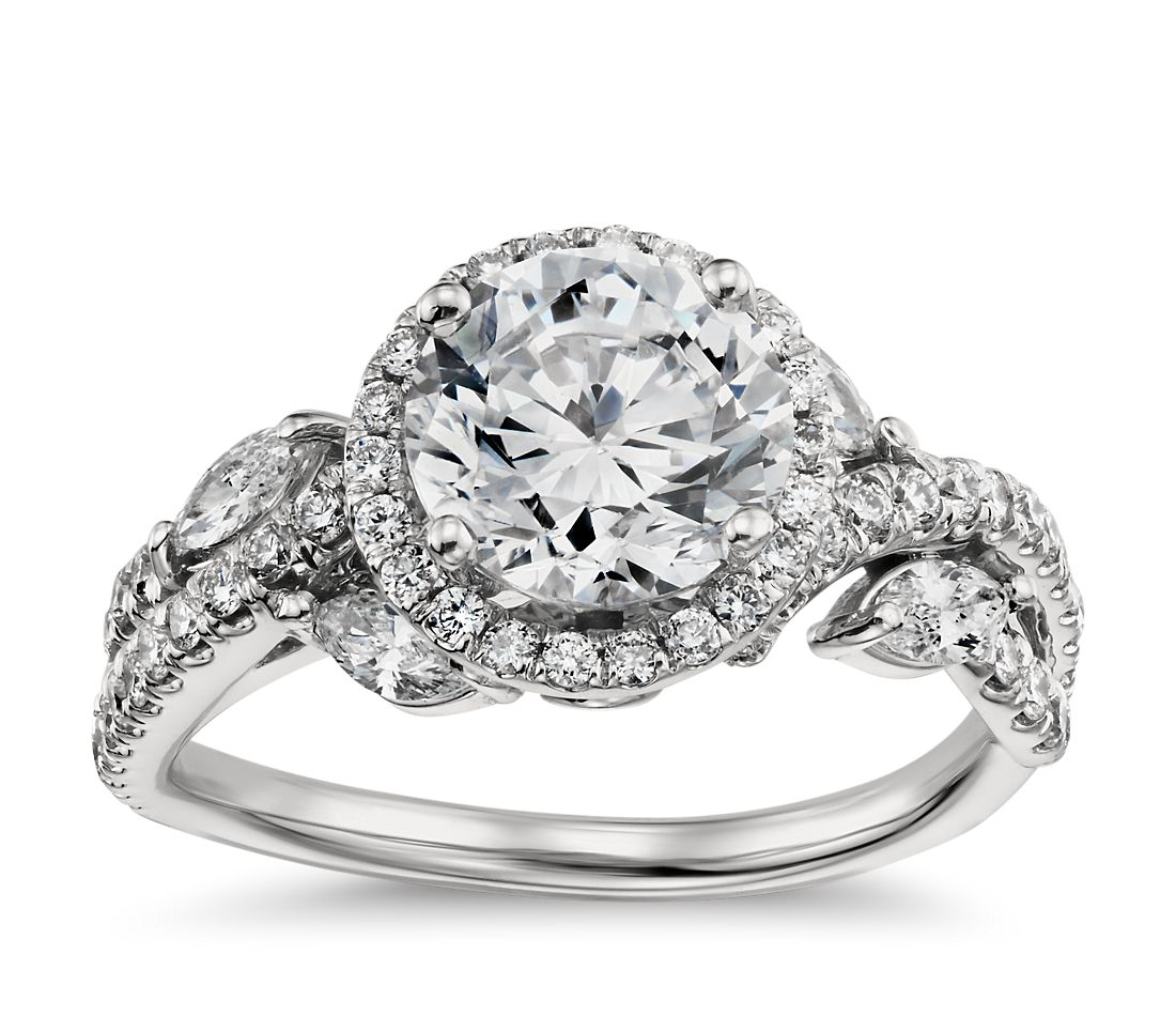 Monique Lhuillier Floral Halo Diamond Engagement Ring in 18k White Gold